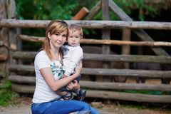 Loving mother and cute son at village Stock Image
