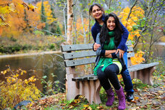 Loving mother and daughter enjoying autumn Stock Photography