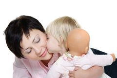 Loving mother and daughter over white Stock Image
