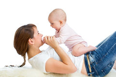 Loving mother having fun with her baby girl Stock Photography