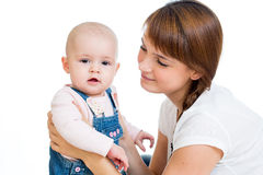 Loving mother with her baby girl Stock Images