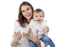 Loving mother and her baby girl stock photos