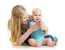 Loving mother playing with baby boy Royalty Free Stock Images
