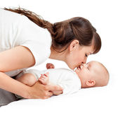 Loving mother playing with her baby girl infant Royalty Free Stock Photos