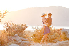 Loving mother and son hugging outdoors, sunset Stock Images