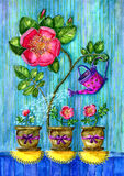 Loving mother. Watercolor illustration of big rose flower watering small flowers in the decorated pots with bows Stock Photo