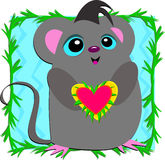 Loving Mouse with a Big Heart Stock Photo
