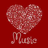 Loving musical heart symbol made up of notes Stock Photo