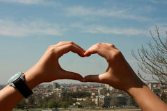 Loving my city - hands in form of heart Royalty Free Stock Images