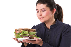 Loving my sandwich Royalty Free Stock Photo