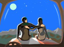 A loving pair sits on the hood of a car royalty free illustration