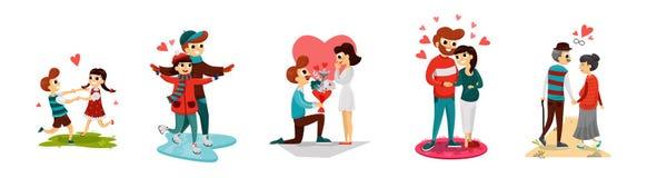 Loving people flat set stock illustration