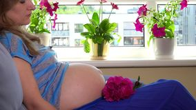 Loving pregnant woman looking at her unborn baby moving inside her tummy belly. Static closeup shot stock footage