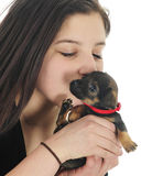 Loving on Pup Stock Photo