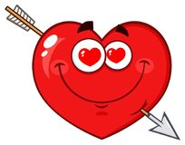 Loving Red Heart Cartoon Emoji Face Character With Hearts Eyes And Arrow Royalty Free Stock Photo