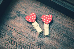 Loving red hearts on vintage wooden background Royalty Free Stock Photography