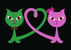 Loving romantic funny cats and heart.  Royalty Free Stock Photos