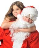 Loving on Santa Royalty Free Stock Photography