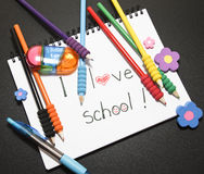 Loving school. School things who show the love for school royalty free stock photography