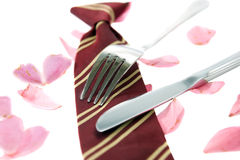 Loving school dinners with petals Royalty Free Stock Photography