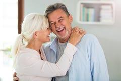 Loving senior couple. At home Stock Photo