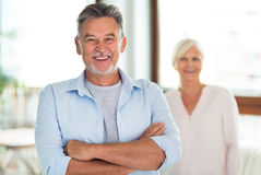 Loving senior couple. At home Stock Images