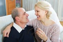 Loving senior couple at home Stock Photos