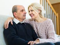 Loving senior couple at home Royalty Free Stock Photo