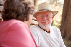 Loving Senior Couple Outdoors Stock Image