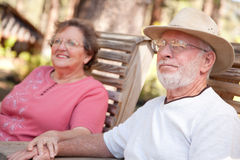 Loving Senior Couple Outdoors Stock Photos