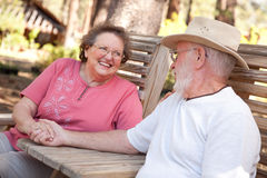 Loving Senior Couple Outdoors royalty free stock images