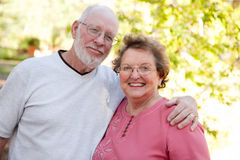 Loving Senior Couple Outdoors Royalty Free Stock Photos
