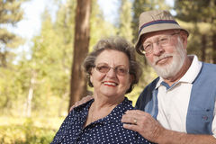 Loving Senior Couple Outdoors Portrait Royalty Free Stock Photo