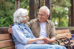 Loving senior man and woman expressing their feelings Stock Images