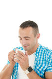 Loving smell of coffee in the morning Royalty Free Stock Image