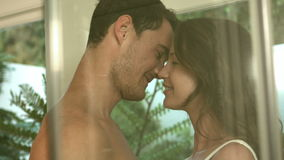 Loving smiling young couple kissing stock footage