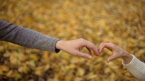 Loving students putting their hands in shape of heart, autumn romance, date