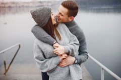 Couple near water stock photography