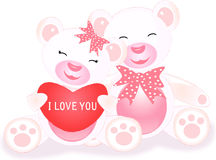 Loving teddies with heart. Cute loving teddies with heart  in white background Stock Photos
