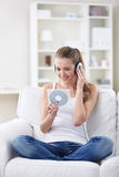 Loving to listen to music Royalty Free Stock Images