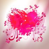 Loving watercolor splash heart with sketch graphical elements Royalty Free Stock Photography