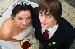 Loving wedding couple stock images