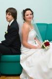 Loving wedding couple stock photography