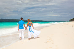 Loving wedding couple on beach Royalty Free Stock Photo