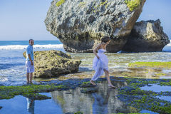 Loving Wedding Couple on Ocean Coastline. Royalty Free Stock Photos