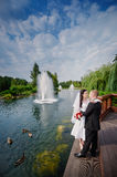 Loving wedding couple standing and kissing near water Royalty Free Stock Image