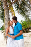 Loving wedding couple under the palm Stock Photo