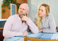 Loving woman consoling depressed man Royalty Free Stock Photography