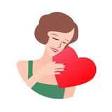 Loving Woman Holding Heart Royalty Free Stock Photos