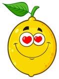 Loving Yellow Lemon Fruit Cartoon Emoji Face Character With Hearts Eyes. Illustration Isolated On White Background stock illustration